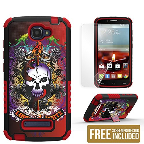 Beyond Cell® TriShield® Design - Cases with built-in Kickstand & Free HD Screen Film - Compatible with Alcatel One Touch Fierce 2 7040T - Tri-Layer Protection, Silcone Cradle with Reinforced Corners, Shock & Impact Resistant Polycarbonate hard Shell, & HD Screen Film - 1 Year Manufacturer Warranty - Love Hurt Skull
