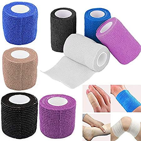 MAIKALUN 2.5cm 5m Self-Adherent Bandages,Soft and Well Wrapped//Black//Blue//Khaki//White//Pink