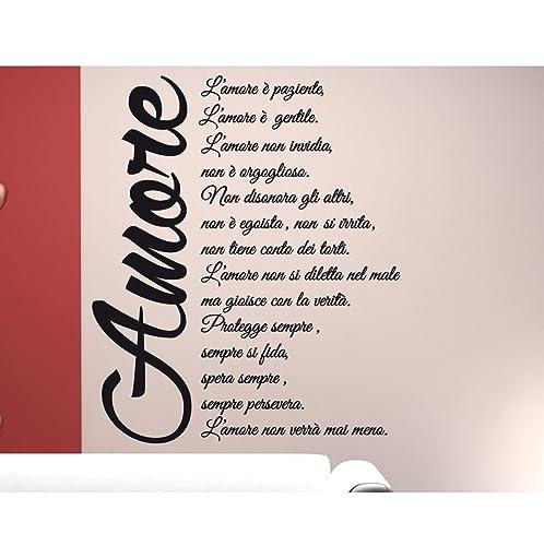 Fabuleux Wall Stickers Adesivo Murale Frase Bibbia lettera ai Corinzi Amore  VY28