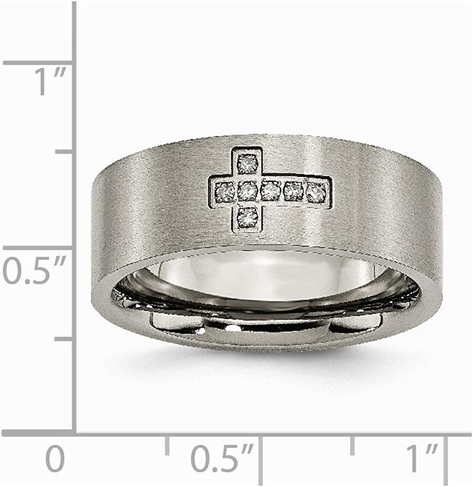Diamond Cross Flat Band Ring 8 to 13 Size tw Saris and Things Titanium Brushed 0.07ct