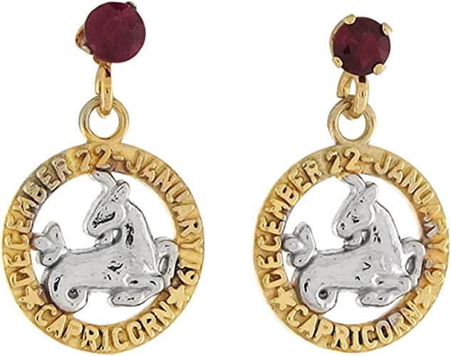 Ruby and Garnet gemstone earrings with crescent moon and gold plate capricorn Leo birthstone