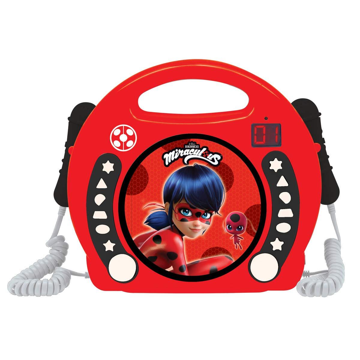 LEXiBOOK Miraculous Ladybug Radio CD, Programming Function, Headphones Jack, for Kids, with Power Supply or Batteries, Red/Black, RCDK100MI
