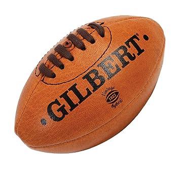 Gilbert - Mini balón de rugby (piel), diseño vintage marrón marrón ...