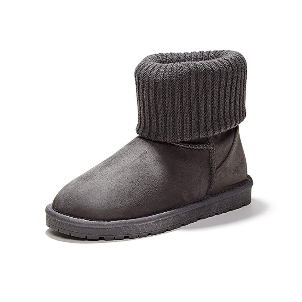 YUBIN Damen Plus Samt Anti-Rutsch Winter Winterstiefel Braun Schwarz (Farbe   grau größe   EU 35 US 4 UK 3 JP 22.5cm)