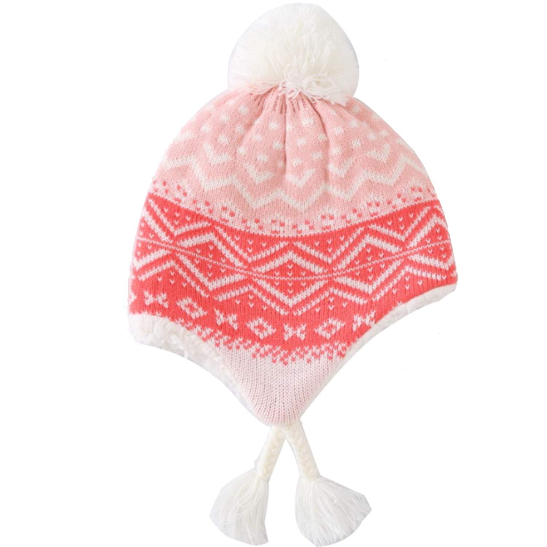Luzlen Winter Hat Scarf Set Girls Fleece Lined Knit Beanie Toddler Kids Hat with Earflap