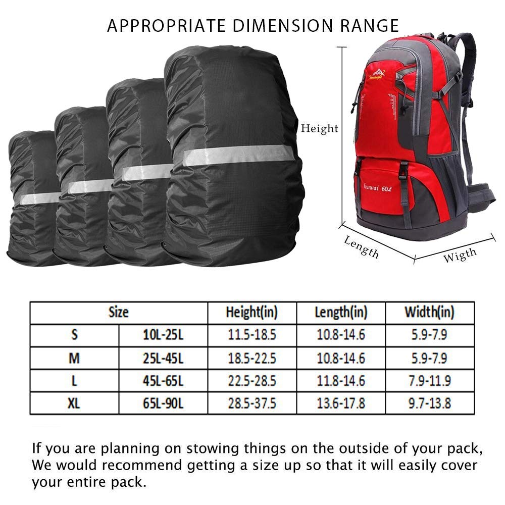 Y&R Direct Backpack Rain Cover for 15-90L,100% Waterproof Backpack Cover, Upgraded Anti-Slip Cross Buckle Strap,Rainproof Storage Pouch,Strengthened Layer for Hiking Camping Traveling Cycling