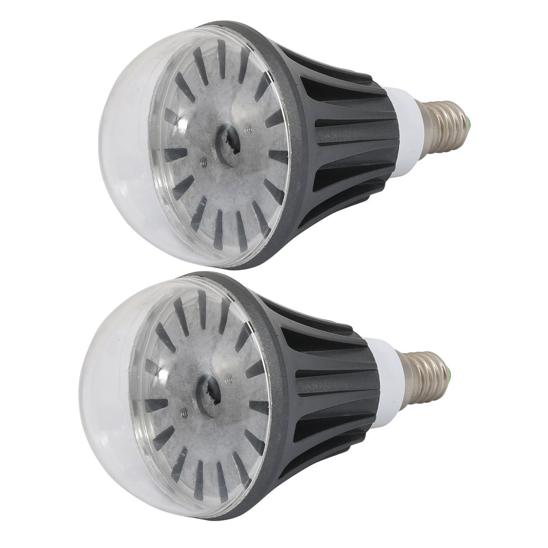 uxcell 2Pcs 5W/7W Black Aluminum Ball - Bulb Lamp Housing E14 Base w Clear Cover