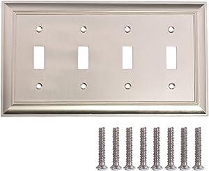 AmazonBasics AB-6022 Quadruple Toggle Wall Plate, 4 Gang, Satin Nickel