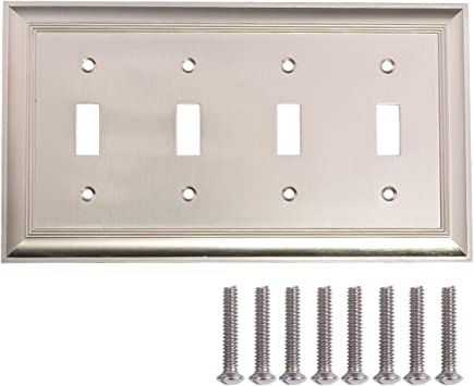 Amazon Basics Quadruple Toggle Light Switch Wall Plate Satin Nickel 1 Pack Amazon Com