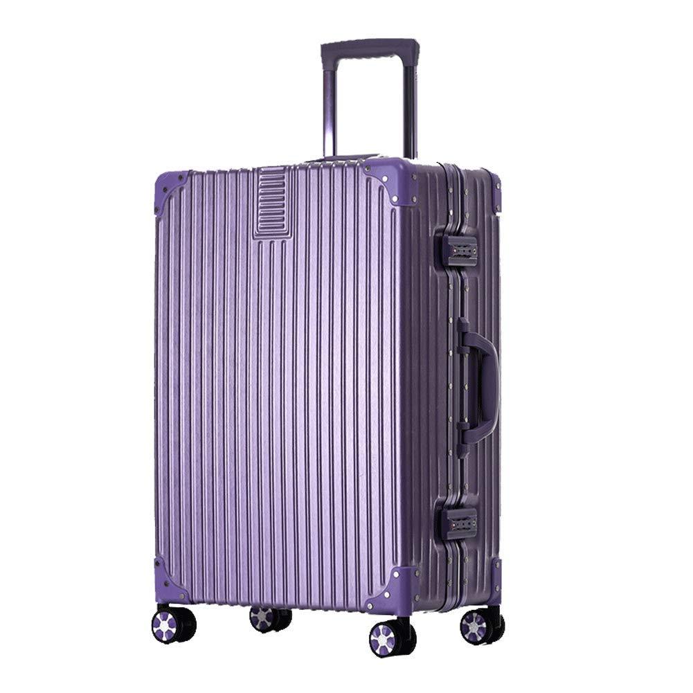 荷物ハードシェルスーツケース軽量ABS 4輪TSA税関ロックビジネストラベルトロリーケース20 \24\ 26 \28\ブラック-purple-L(26in) B07T48WGVZ purple L(26in)