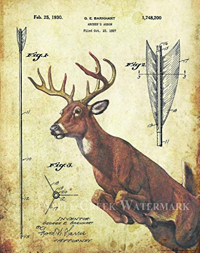 Whitetail Deer Bow Arrow Archery Hunting Patent Poster Art Print Reproduction 11x14 Wall Decor Pictures