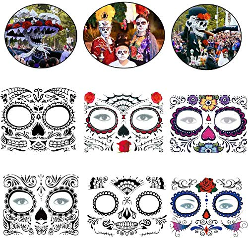 COKOHAPPY Day of the Dead Sugar Skull Rose Floral Skeleton Temporary Face Tattoo Kit - Pack of 6 Kits -
