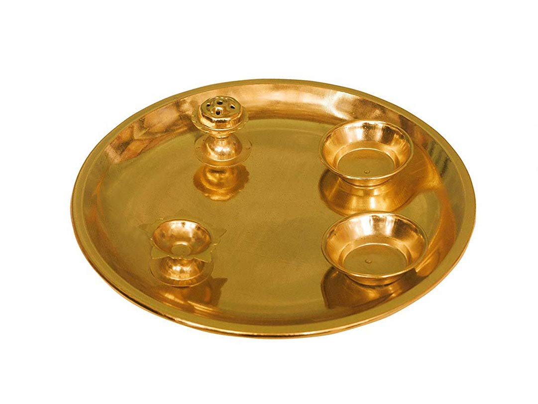 Ancient Craftz Gold Plated Pooja Thali (130 Grams) with Diya, Agardan, 2 Small Bowls for Roli chawal D- 20.5 cms