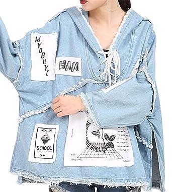Jotebriyo Womens Fringes Split Floral Print High Low Casual Loose Denim  Jacket Coat Light Blue XXS 7cc6449a5d