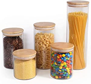77L Food Storage Canister, (Set of 5) Thickened Airtight Food Storage Jar Set with Wooden Lid, [5 Different Sizes] Glass Pantry Canister/Jar Serving for Coffee, Oats, Four, Sugar and More (Clear)