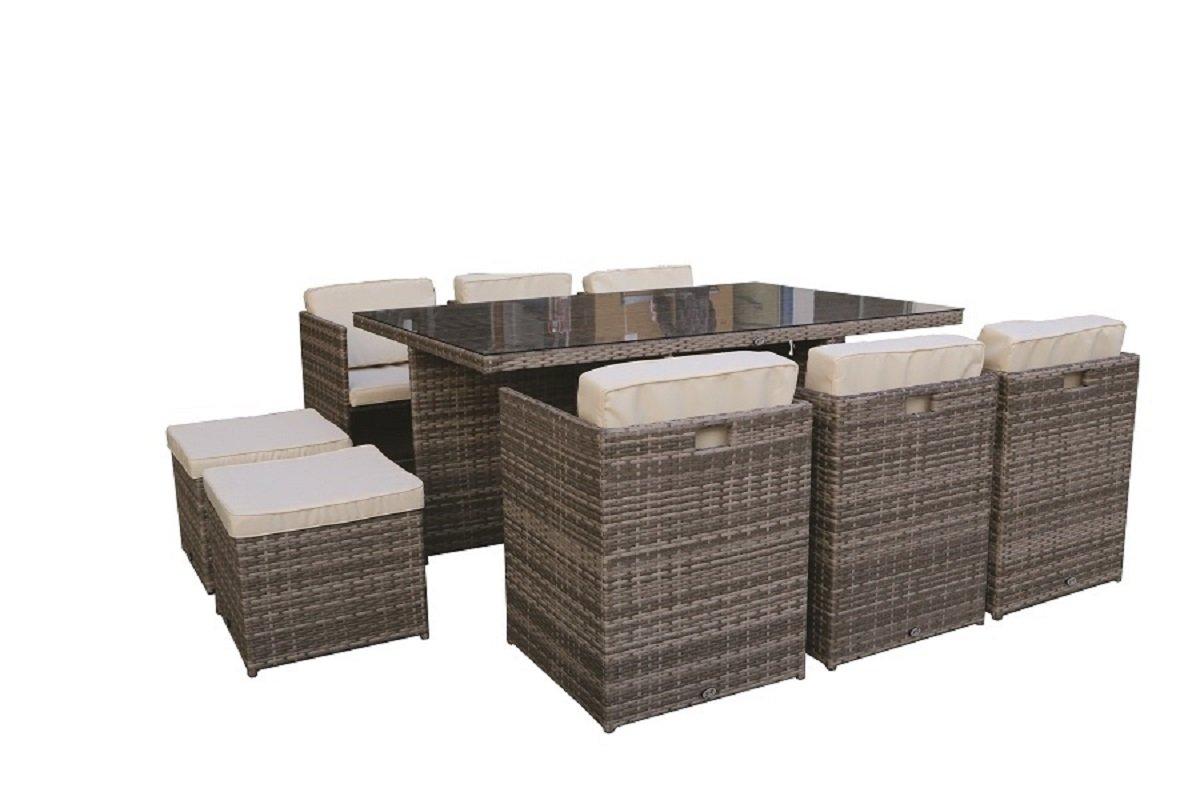 set cubo tisch mit 10 sitzen 6 sessel 4 hocker polyrattan grau jetzt bestellen. Black Bedroom Furniture Sets. Home Design Ideas