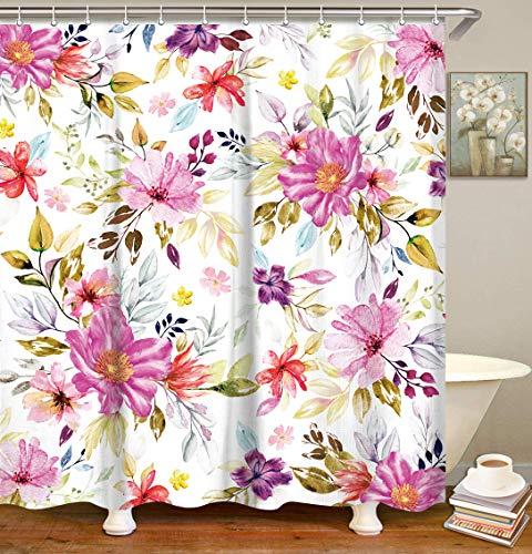 LIVILAN Watercolor Purple Flower Shower Curtain Set with 12 Hooks, Decorative Floral Leaf Bath Curtain Modern Bathroom…