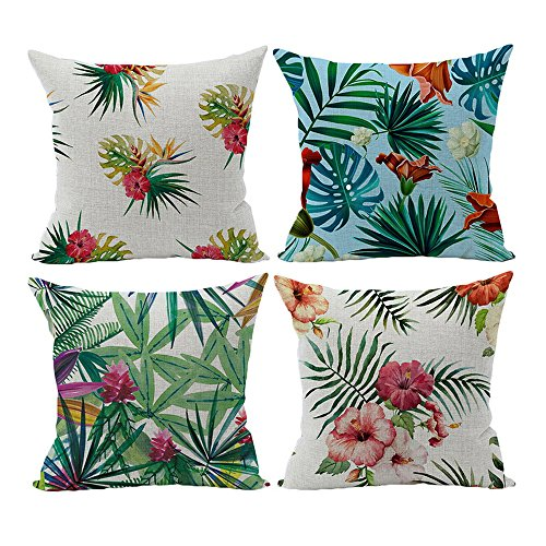 papasgjx 2019 Summer New Tropical Leaves Throw Pillow Cover Colorful Floral Decorative Pillows Square Cushion Covers Sofa Home Decor 18 X 18 Inches Pack of 4 (Best Outdoor Cushions 2019)