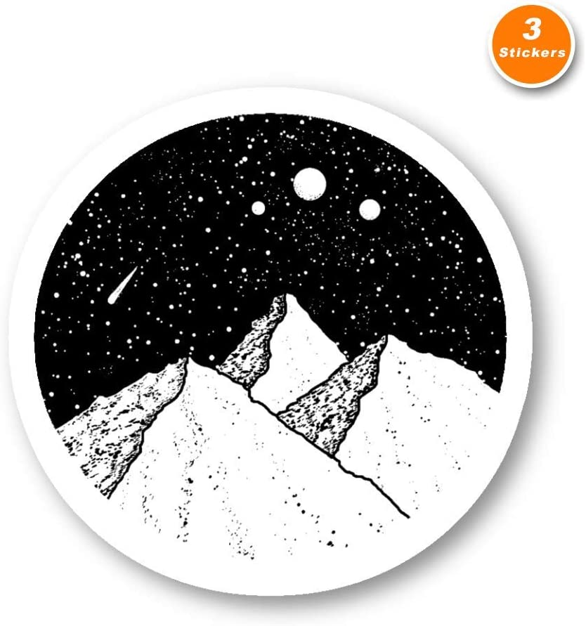 Space Mountains Sticker Love Space Stickers - 3 Pack - Set of 2.5, 3 and 4 Inch Laptop Stickers - for Laptop, Phone, Water Bottle (3 Pack) S214460