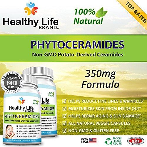 Phytoceramides Anti vieillissement supplément clients - vie saine marque - végétale 350 mg soins de la peau supplément produits de restauration - aide à réduire les fines rides, ridules et dommages du soleil - Veggie Capsules