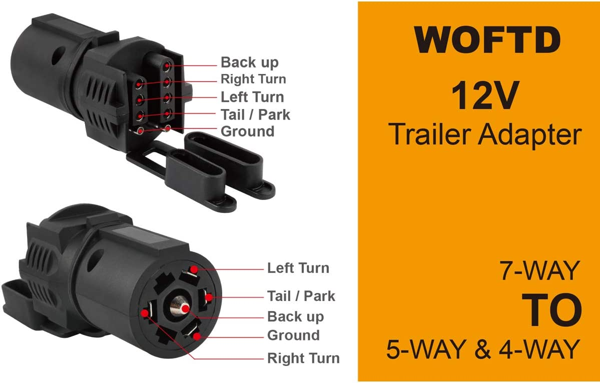 WOFTD Trailer Plug Adapters 7 Pin to 4 and 5 Flat Blade Trailer Connector Trailer Adapter 7 Way to 4 Way 5 Way 2-in-1 Flat Blade Plug