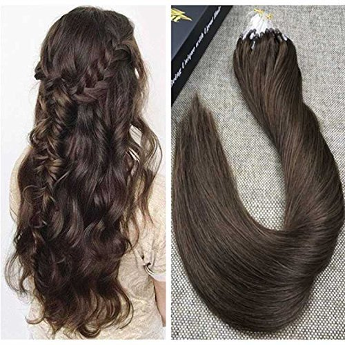 Ugeat 14inch 50s 1g/s Micro Loop Human Hair Extensions Medium/Chocolate Brown Beaded Hair Extensions with Micro Rings Total Weight 50g Remy Micro Ring Hair (50s Hairstyles For Long Hair)