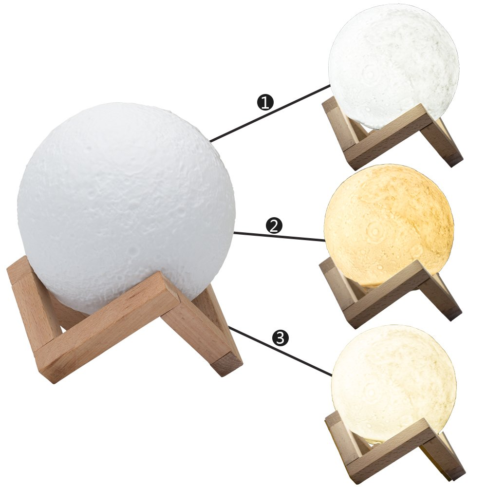 3D Moon Light Multi-colour Night Light Table Lamb USB Charging with ...