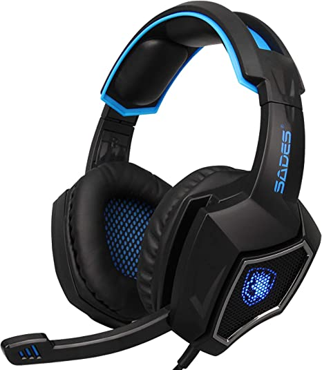 SADES SA902 7.1 Surround Sound PC Gaming Headset USB Over Ear Headphones with Microphone LED Light Volume Control for Mac//Computer//Laptop Black//Blue