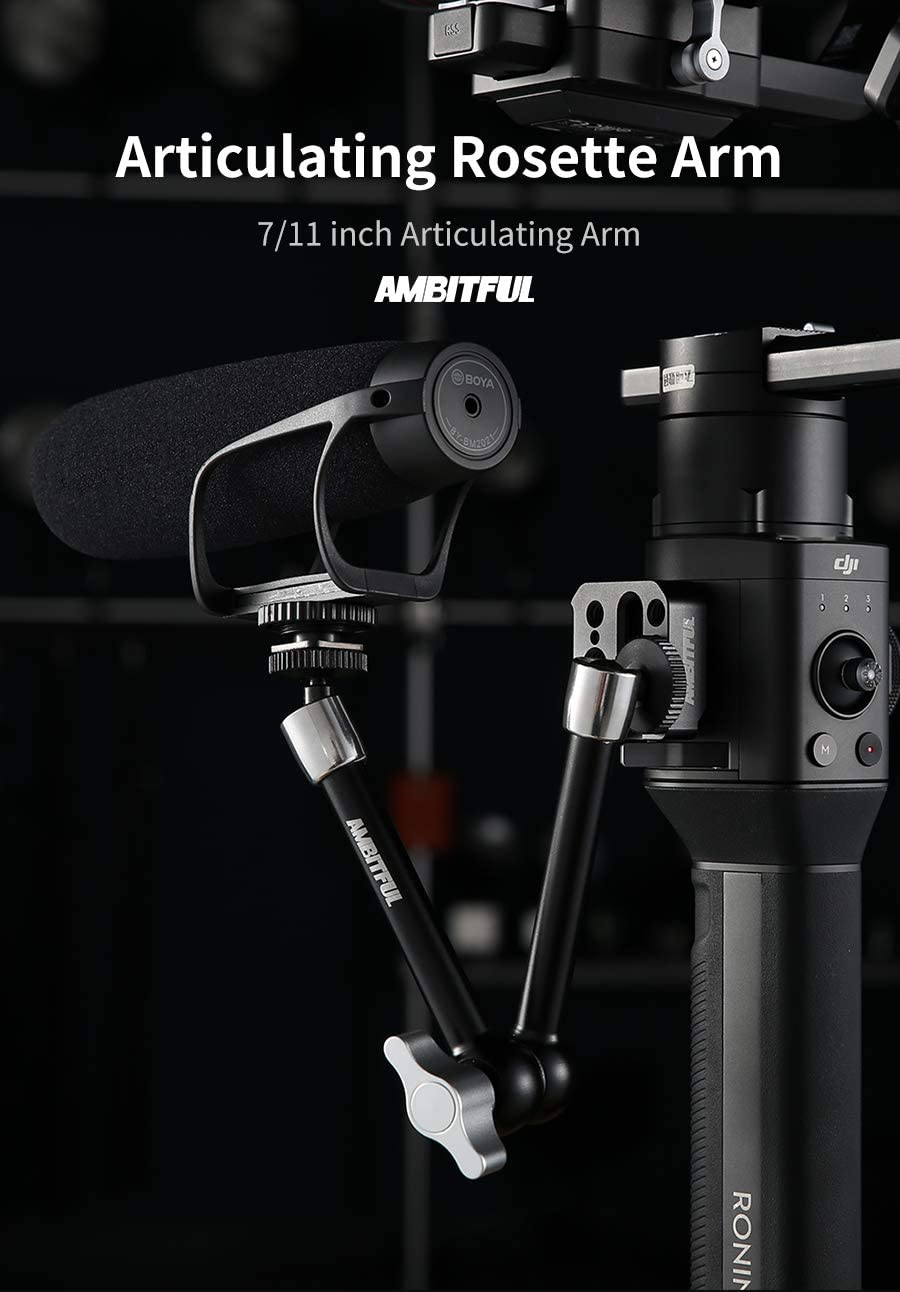 AMBITFUL DSLR 11 Articulating Rosette Arm Camera Magic Arm with Cold Shoe Mount /& Standard 1//4-20 Threaded Screw Adapter,Professional Video Stabilizers Accessories kit