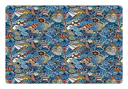 Nautical Pet Mats for Food and Water by Ambesonne, Abstract Pattern Sea Shells Sea Horse Corals Fish Rob Globe Maps Wavy Ocean, Rectangle Non-Slip Rubber Mat for Dogs and Cats, Blue - Map Seashell
