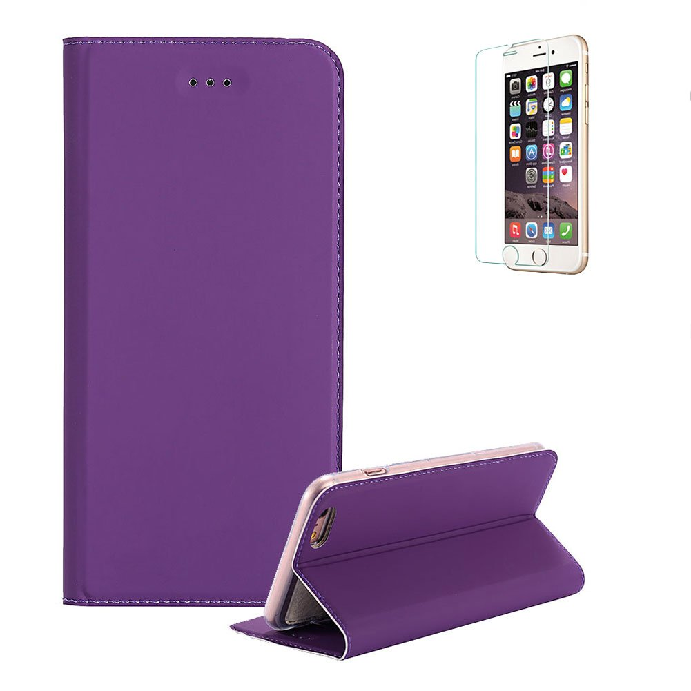 Funyye Premium Folio Wallet Case for iPhone 6, Black Magnetic Flip Automatic Suction Design Ultra Thin Soft Silicone PU Leather Case with Credit Card Holder Slots for iPhone 6S, Full Body Shockproof Stand Function Protective PU Leather Case for iPhone 6/6S