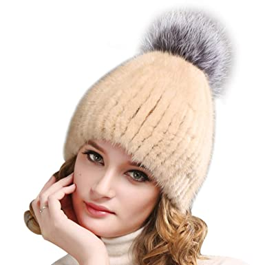 f1c54bdadf786 FURTALK Women's Pom Winter Fur Hat Cold Winter Genuine Thick Mink Fur Cap  Fox Fur Original (Light Brown)