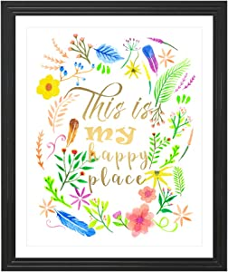 Eleville 8X10 This is My Happy Place Real Gold Foil and Floral Watercolor Art Print(Unframed) Housewarming Gift Nursery Decor Kids Wall Art Motivational Poster Baby Shower WG099