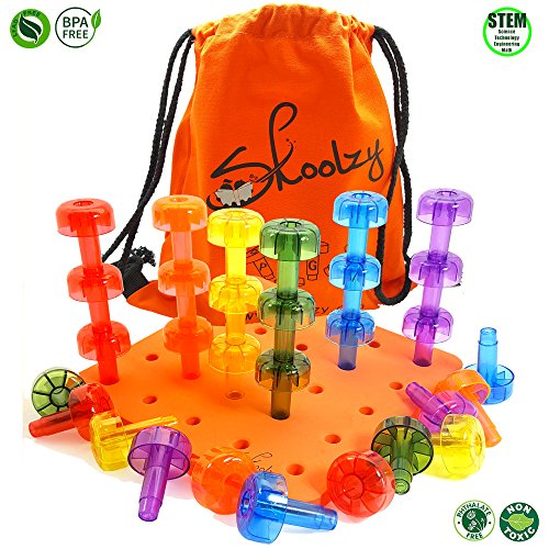- Skoolzy Pegboard Stacking Toddler Toys - Crystal Peg Board Puzzles for Toddlers, Montessori Toys for 1, 2, 3 Year Old Boys and Girls | Educational Fine Motor Skills Building Blocks