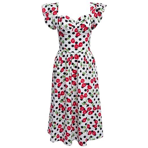 FUZHUANGHM Vestido de Verano Vintage de los años 60 con Estampado ...