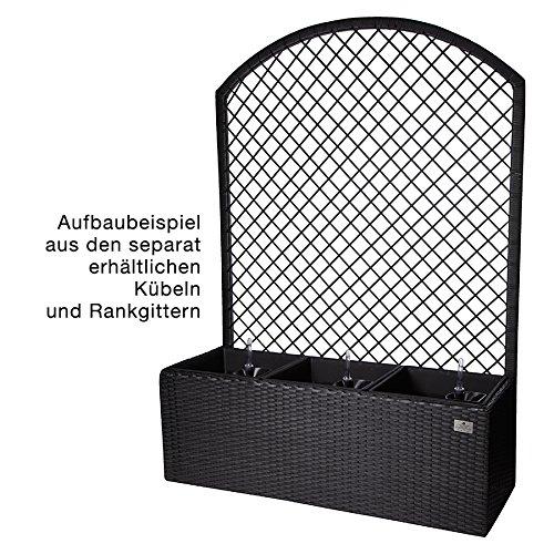 XL Gartenspalier Grau Rattan Rankgitter Rankhilfe mit Pflanzkasten Blumenkübel
