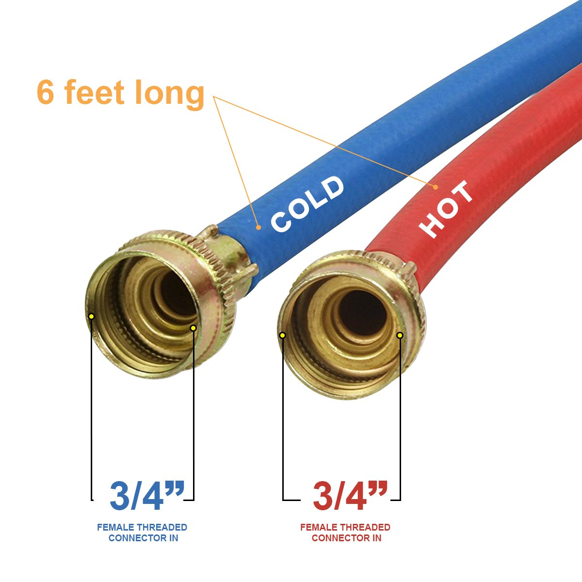 Everflow 2566K 6 Feet Washing Machine Hot/Cold Hose Durable Rubber Kit, EPDM Rubber Tube & Cover, F3/4 In. X F3/4 In. Supply Line Stamped Brass Hose End, UPC Approved, Made in USA by Everflow (Image #2)