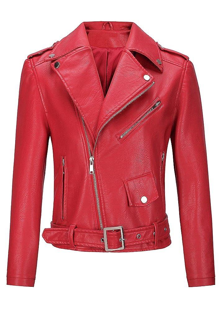 SLLSKY Women's Tight Broad Lapels Faux Leather Jackets 4-14