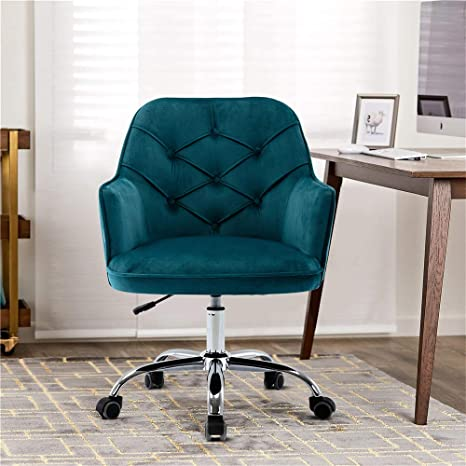 Amazon Com Goujxcy Home Office Chair Velvet Desk Chair With Metal Base Modern Adjustable Swivel Chair Lake Blue Kitchen Dining
