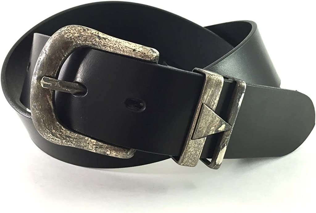 EDNA Italian-Made Leather Vintage Lifestyle Belt with Triad Design Buckle