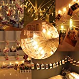 Ovbrn 20 LED Photo Clips String Lights Christmas Indoor fairy Light for Hanging Pictures Include Battery Operated Gift for Party Wedding Dorms Bedroom Decoration (Warm White)