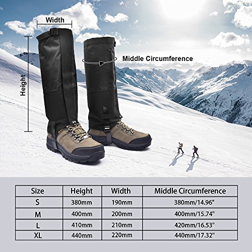 Leanking Leg Gaiters, Waterproof Snow Boot Gaiters 600D Anti-Tear Oxford Fabric Outdoor Waterproof Snow Leg Gaiters for Outdoor Hiking Walking Hunting Climbing Mountain (Black, L) by Leanking (Image #1)