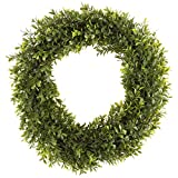 Pure Garden Round Wreath, Artificial Wreath for the Front Door by, Home Décor, UV Resistant, Hedyotis – 15 Inches