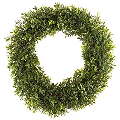Pure Garden 50-152 Artificial Hedyotis 15 inch Round Wreath - DECORATIVE LIFELIKE WREATH - This all-season wreath is made from artificial bright Hedyotis Leaves that covers both the front and back, accented with brown durable twigs that cover the base of the wreath. Elegant and vivid color variations of 320 leaves make for a timeless seasonal home décor. MUTLIFUNCTIONAL DÉCOR - Wreath can be used as both indoor and outdoor making it a versatile decorating accessory. Hang it above your fireplace, place it on your front door, or on a living room wall. This wreath will bring an enjoyable ambiance all year round. NO MAINTENANCE REQUIRED - Upon receiving, just pull out the leaves and branches to make the wreath full. No hassles with needle clean up or maintenance required. Artificial Boxwood Wreath includes ultraviolet protection to prevent fading and will look great for years to come!! - living-room-decor, living-room, home-decor - 61enaj0RW%2BL. SS400  -