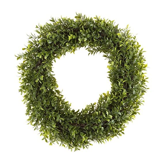 Pure Garden 50-152 Artificial Hedyotis 15 inch Round Wreath - DECORATIVE LIFELIKE WREATH - This all-season wreath is made from artificial bright Hedyotis Leaves that covers both the front and back, accented with brown durable twigs that cover the base of the wreath. Elegant and vivid color variations of 320 leaves make for a timeless seasonal home décor. MUTLIFUNCTIONAL DÉCOR - Wreath can be used as both indoor and outdoor making it a versatile decorating accessory. Hang it above your fireplace, place it on your front door, or on a living room wall. This wreath will bring an enjoyable ambiance all year round. NO MAINTENANCE REQUIRED - No hassles with needle clean up or maintenance required. Artificial Boxwood Wreath includes ultraviolet protection to prevent fading and will look great for years to come! - living-room-decor, living-room, home-decor - 61enaj0RW%2BL. SS570  -