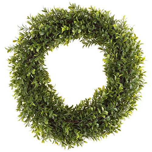 Round Wreath, Artificial Wreath for the Front Door by Pure Garden, Home Décor, UV Resistant, Hedyotis – 15 (Seasonal Door)