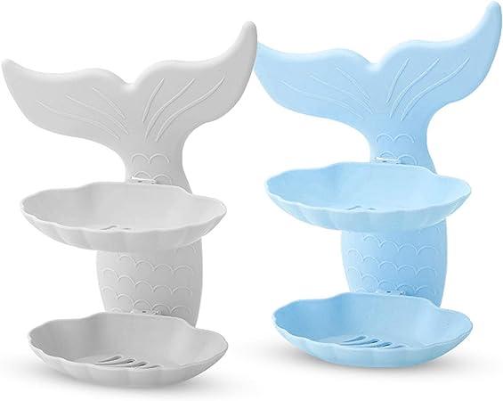 Doppio Strato portasapone in Ceramica e Acciaio Inox SANNO scolapiatti per Bagno e Doccia