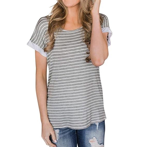 Camisetas De Rayas Estampado Manga Corto Mujer LHWY, Camisetas Espalda Descubierta Tops Suelto De Cuello