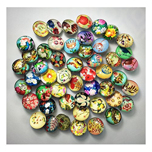 18mm 1 Charm - ALL in ONE 12pcs Snap Ginger Button Jewelry Charms (18mm Glass Mix)