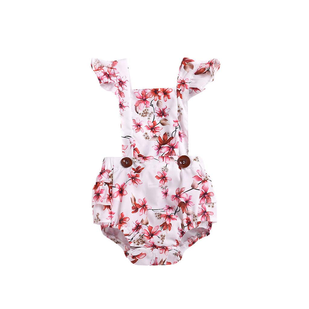 NUWFOR Infant Newborn Baby Floral Ruffle Romper Bodysuit Outfit Sunsuit Clothing(White,0-6 Months)